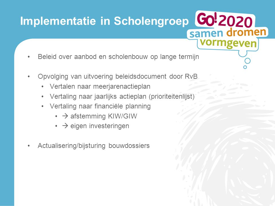 Implementatie in Scholengroep