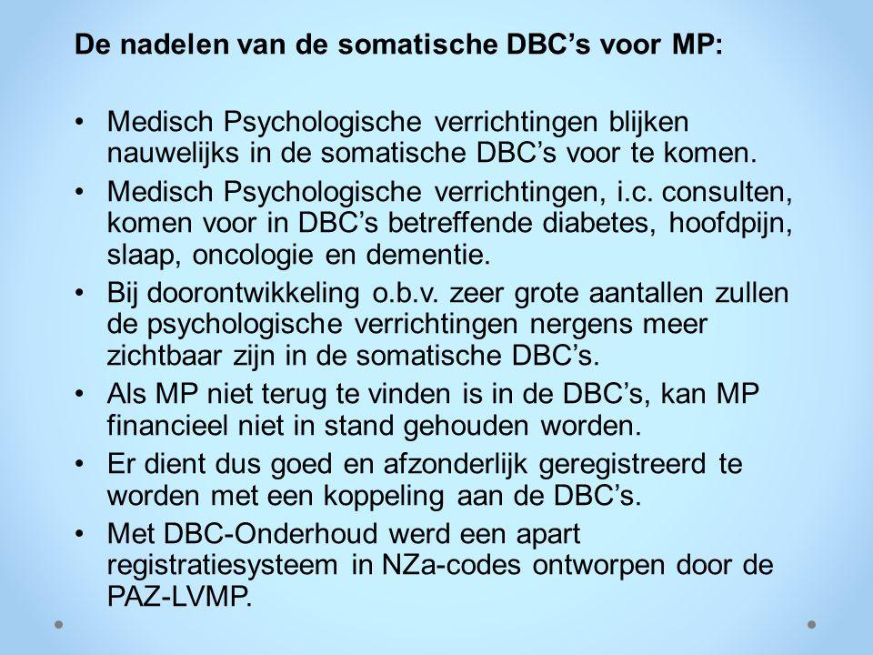 De nadelen van de somatische DBC's voor MP: