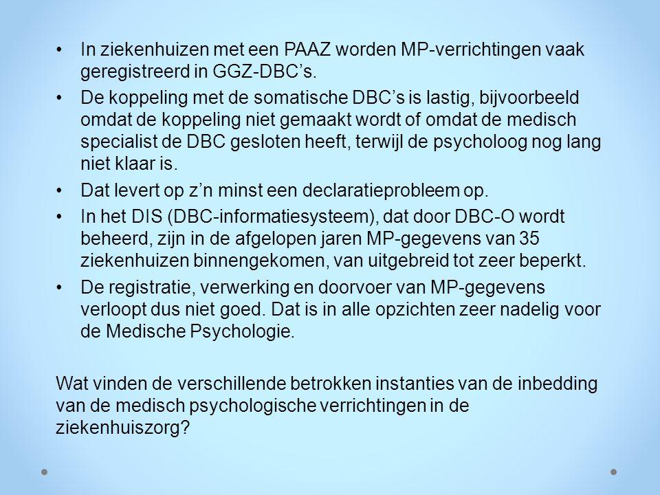 In ziekenhuizen met een PAAZ worden MP-verrichtingen vaak geregistreerd in GGZ-DBC's.