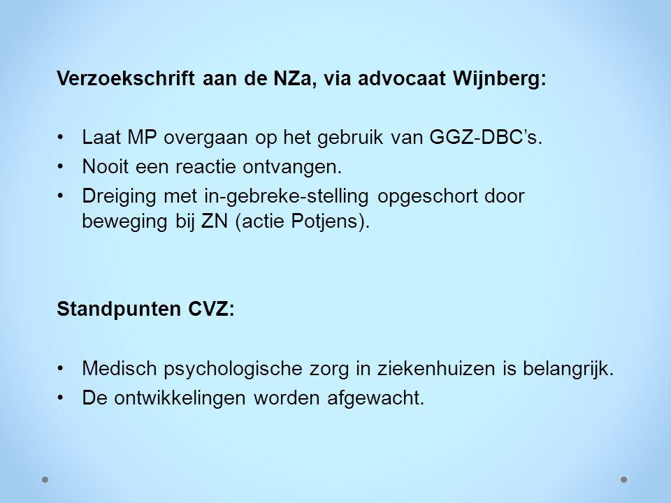 Verzoekschrift aan de NZa, via advocaat Wijnberg: