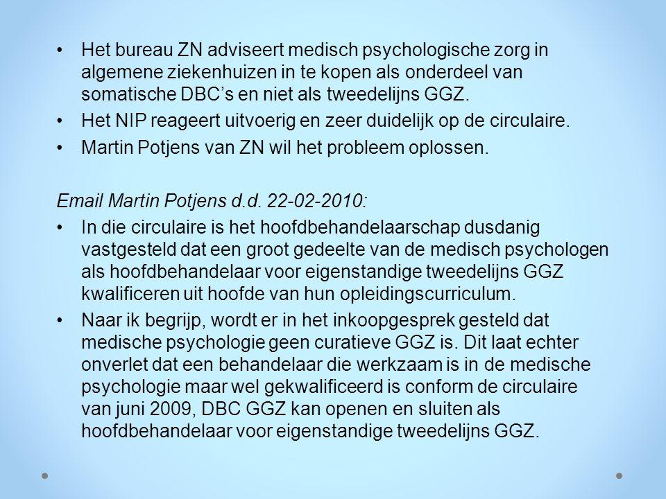Het bureau ZN adviseert medisch psychologische zorg in algemene ziekenhuizen in te kopen als onderdeel van somatische DBC's en niet als tweedelijns GGZ.