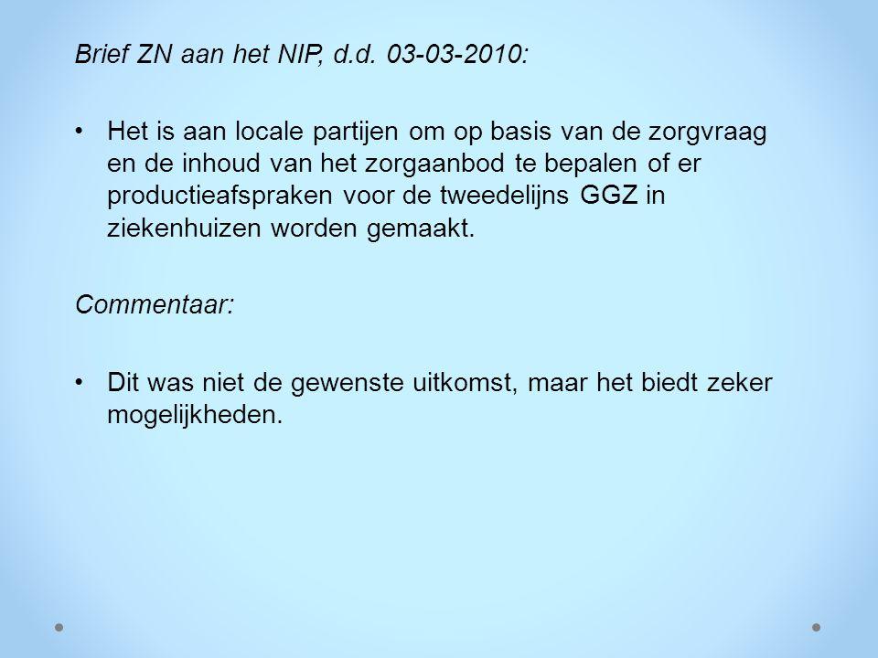 Brief ZN aan het NIP, d.d. 03-03-2010: