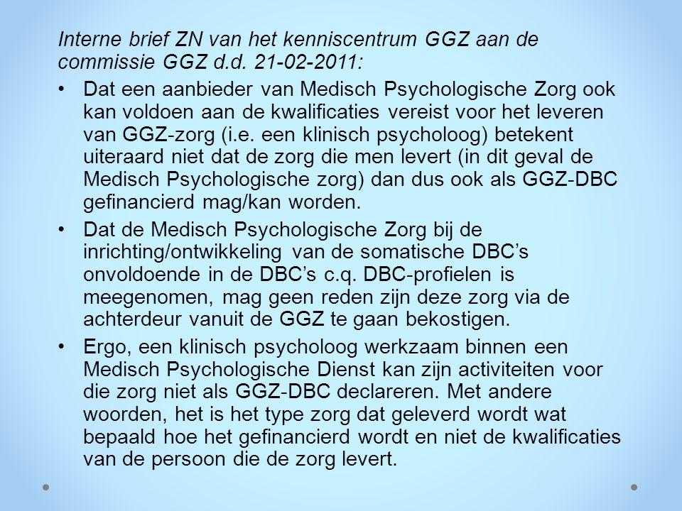Interne brief ZN van het kenniscentrum GGZ aan de commissie GGZ d. d