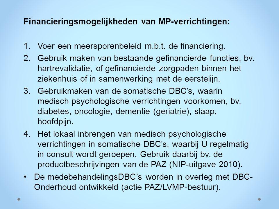 Financieringsmogelijkheden van MP-verrichtingen: