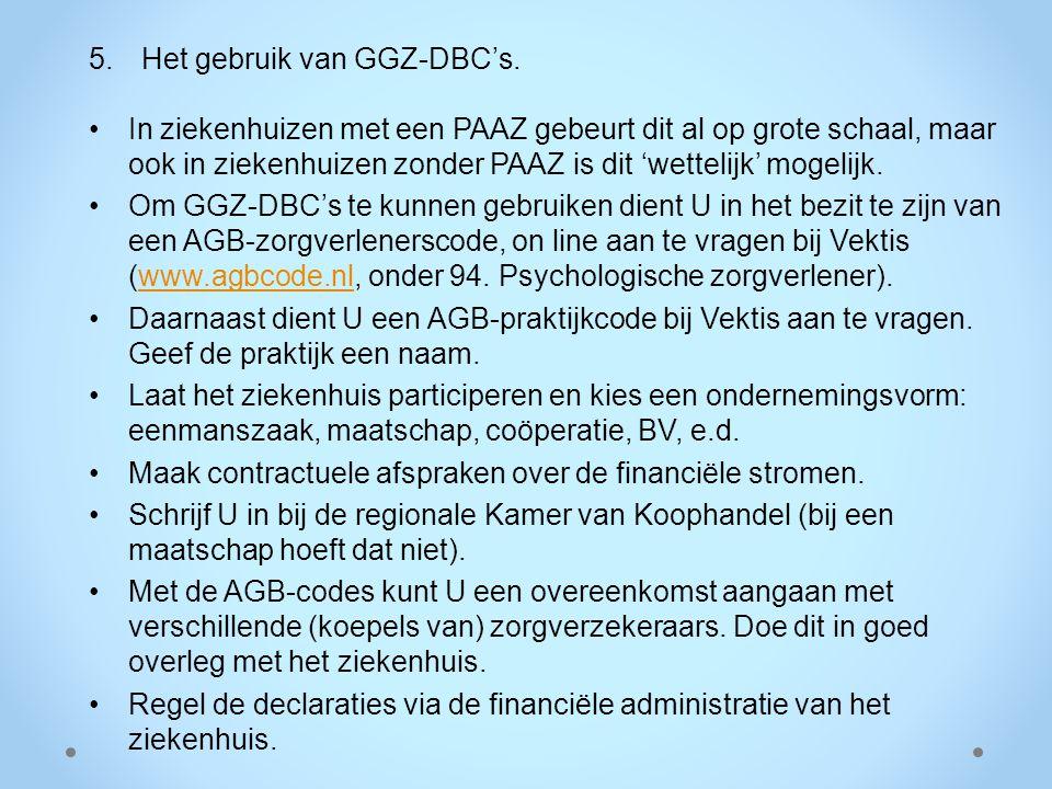 Het gebruik van GGZ-DBC's.