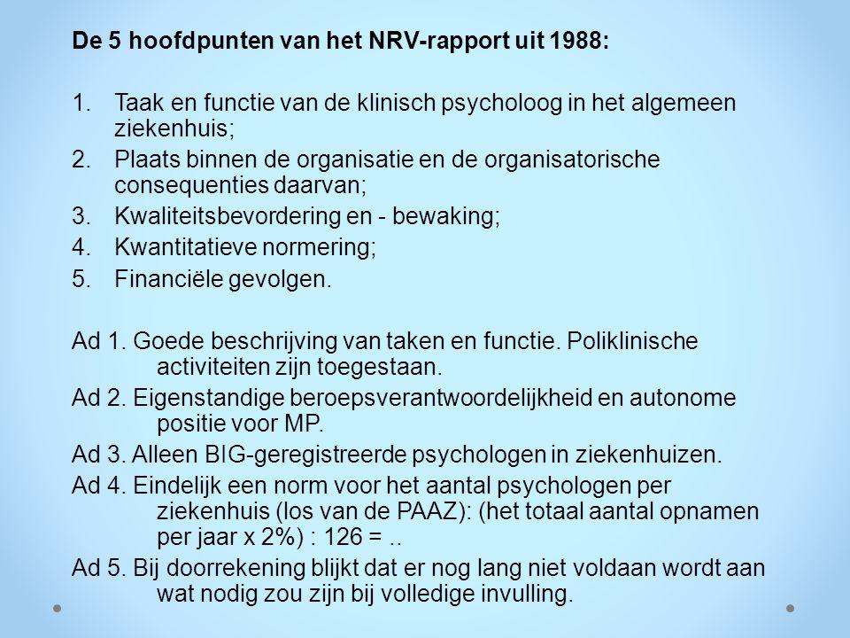 De 5 hoofdpunten van het NRV-rapport uit 1988:
