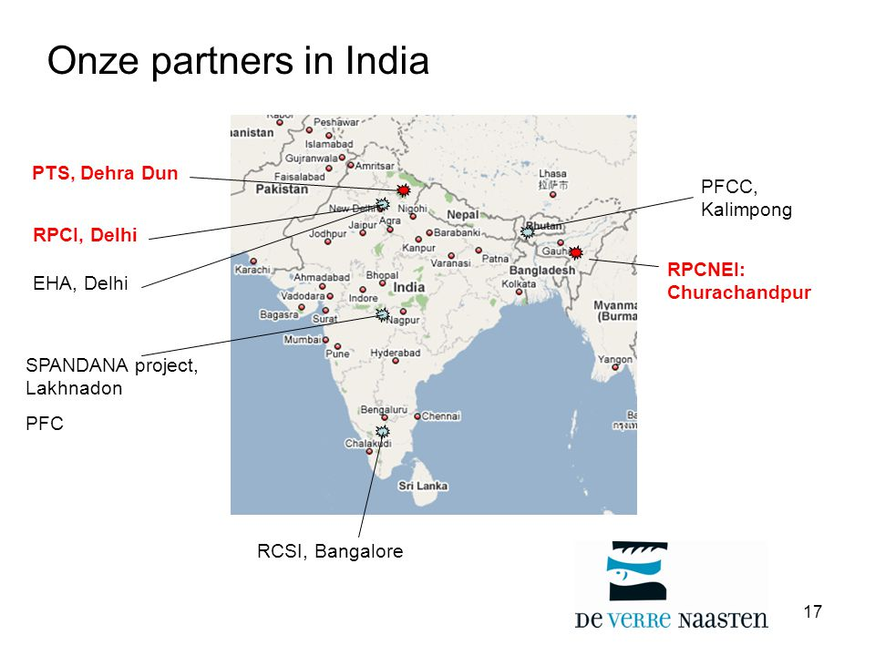 Onze partners in India PTS, Dehra Dun PFCC, Kalimpong RPCI, Delhi