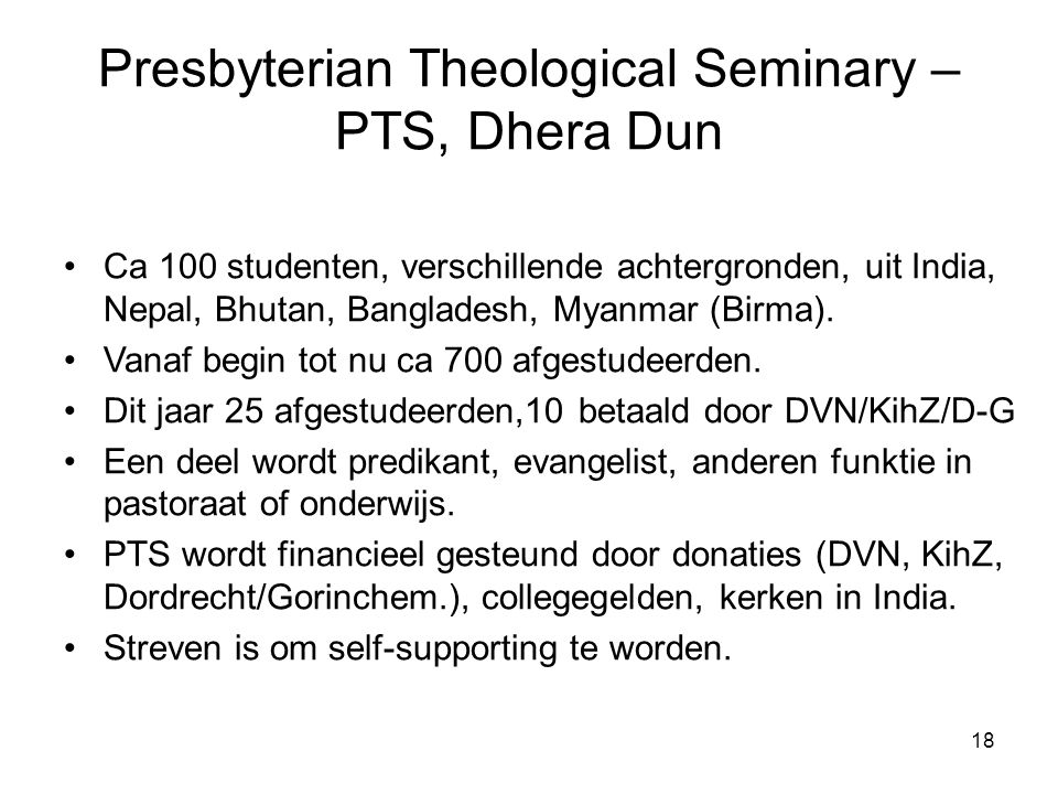 Presbyterian Theological Seminary – PTS, Dhera Dun