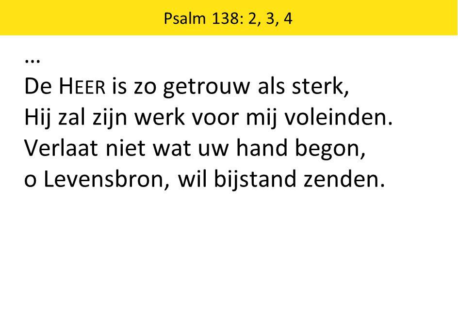 De Heer is zo getrouw als sterk, Hij zal zijn werk voor mij voleinden.