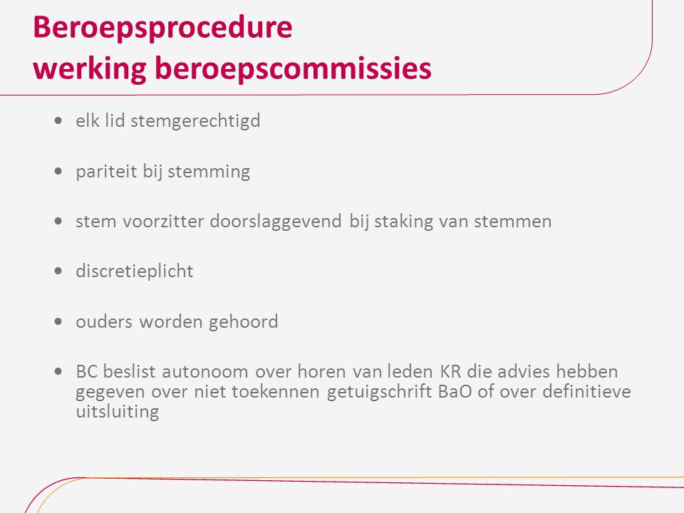 Beroepsprocedure werking beroepscommissies