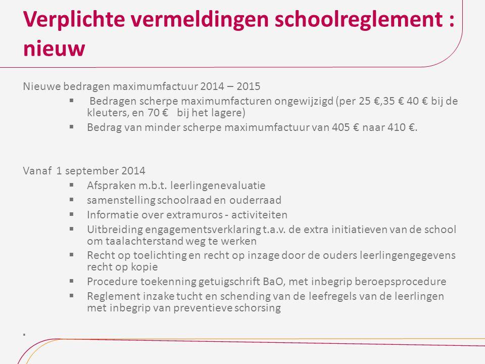 Verplichte vermeldingen schoolreglement : nieuw