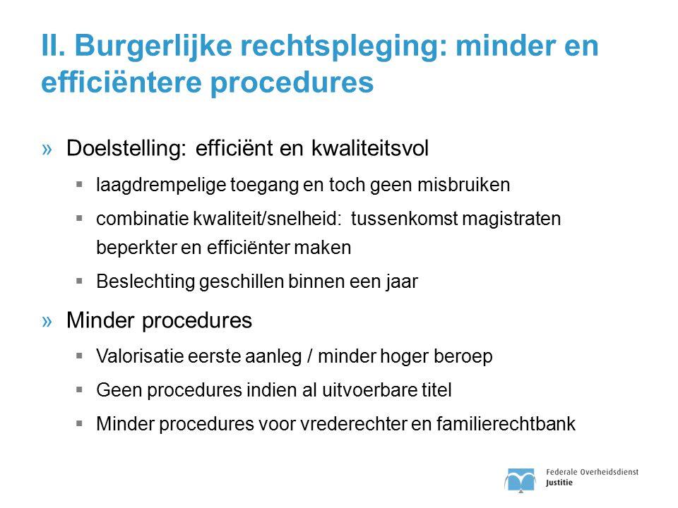II. Burgerlijke rechtspleging: minder en efficiëntere procedures