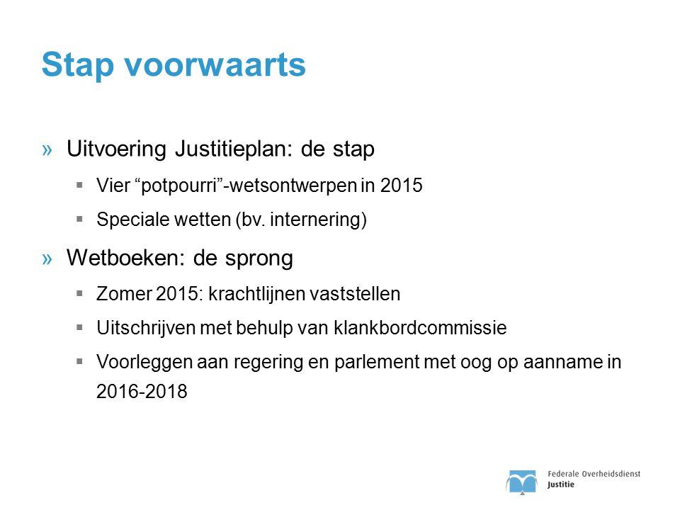 Stap voorwaarts Uitvoering Justitieplan: de stap Wetboeken: de sprong