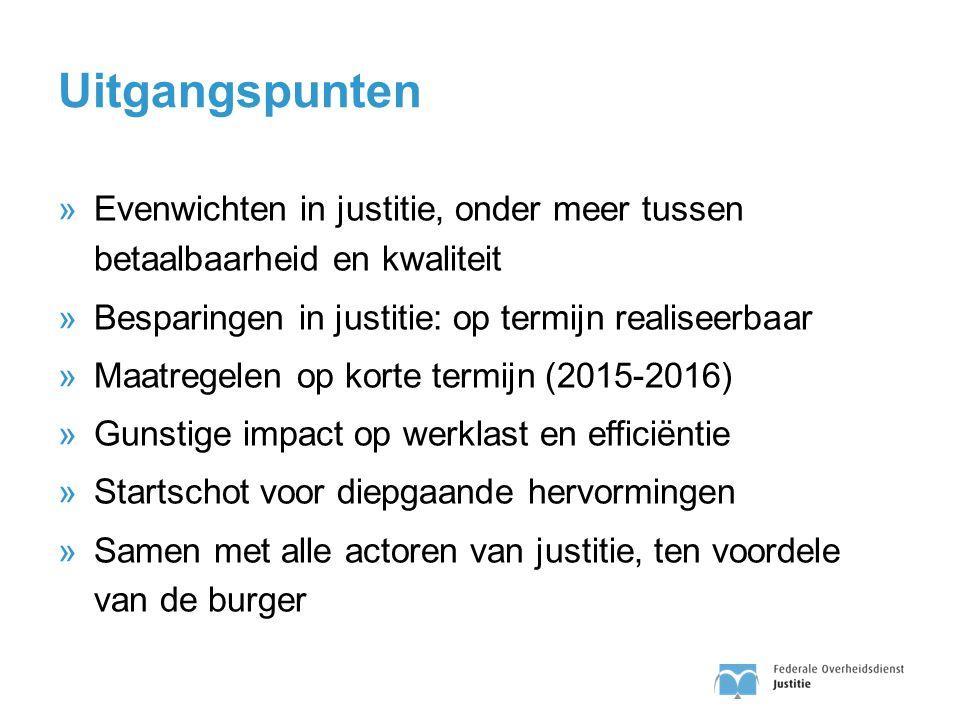 Uitgangspunten Evenwichten in justitie, onder meer tussen betaalbaarheid en kwaliteit. Besparingen in justitie: op termijn realiseerbaar.