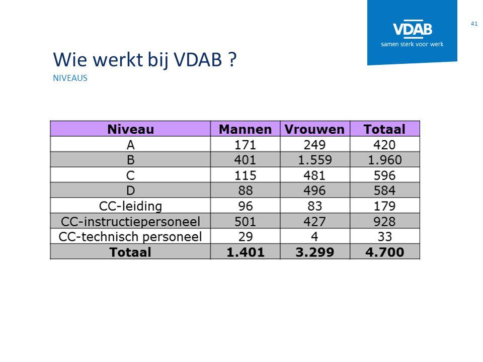 Wie werkt bij VDAB niveaus