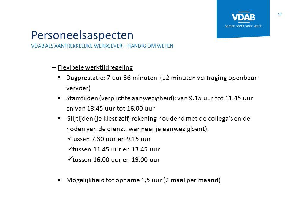 Personeelsaspecten Flexibele werktijdregeling