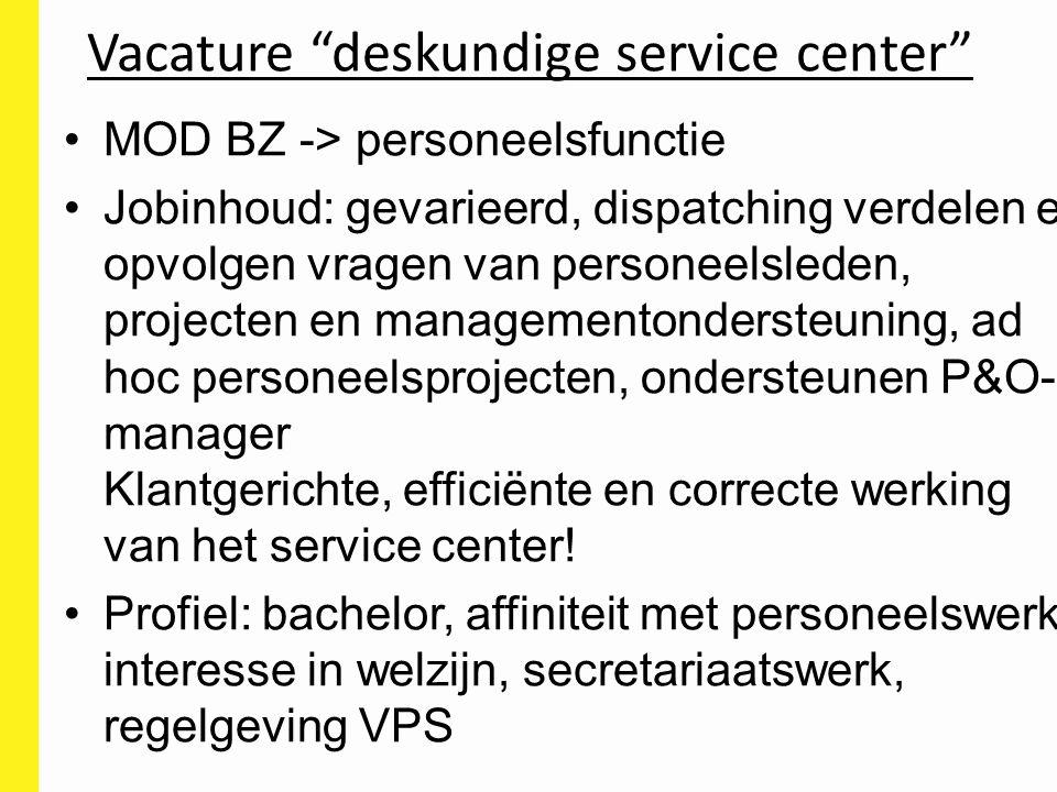 Vacature deskundige service center