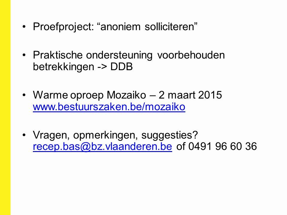 Proefproject: anoniem solliciteren