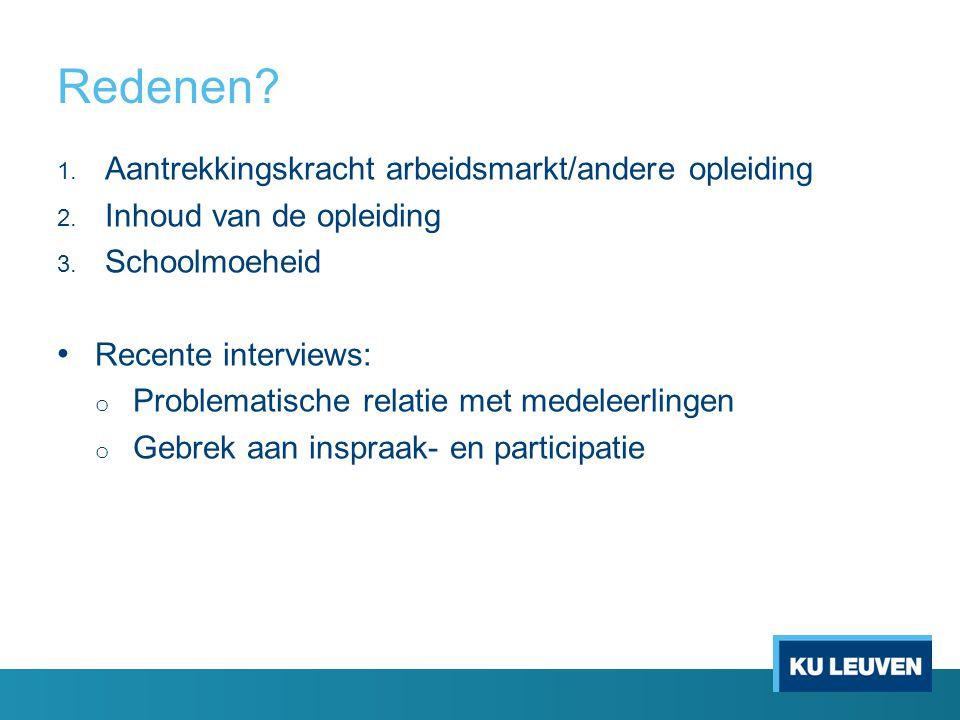 Redenen Aantrekkingskracht arbeidsmarkt/andere opleiding