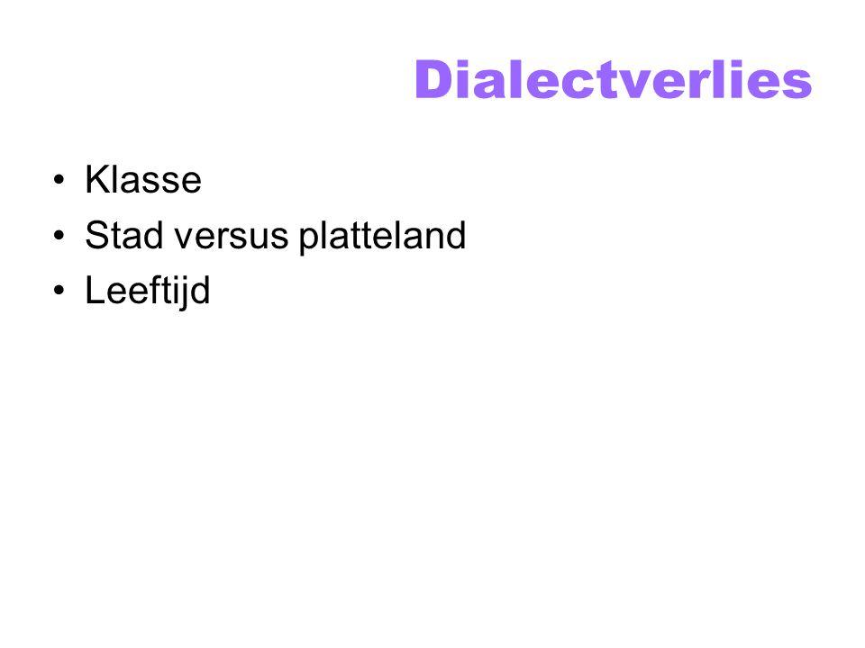Dialectverlies Klasse Stad versus platteland Leeftijd