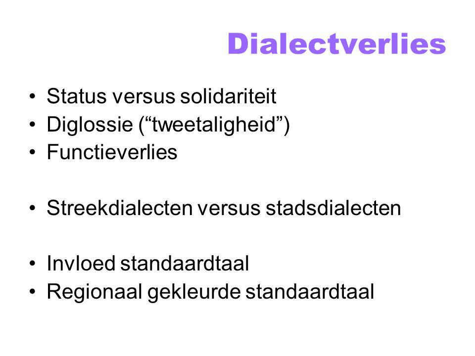 Dialectverlies Status versus solidariteit Diglossie ( tweetaligheid )