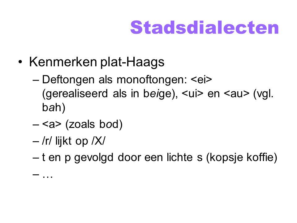 Stadsdialecten Kenmerken plat-Haags