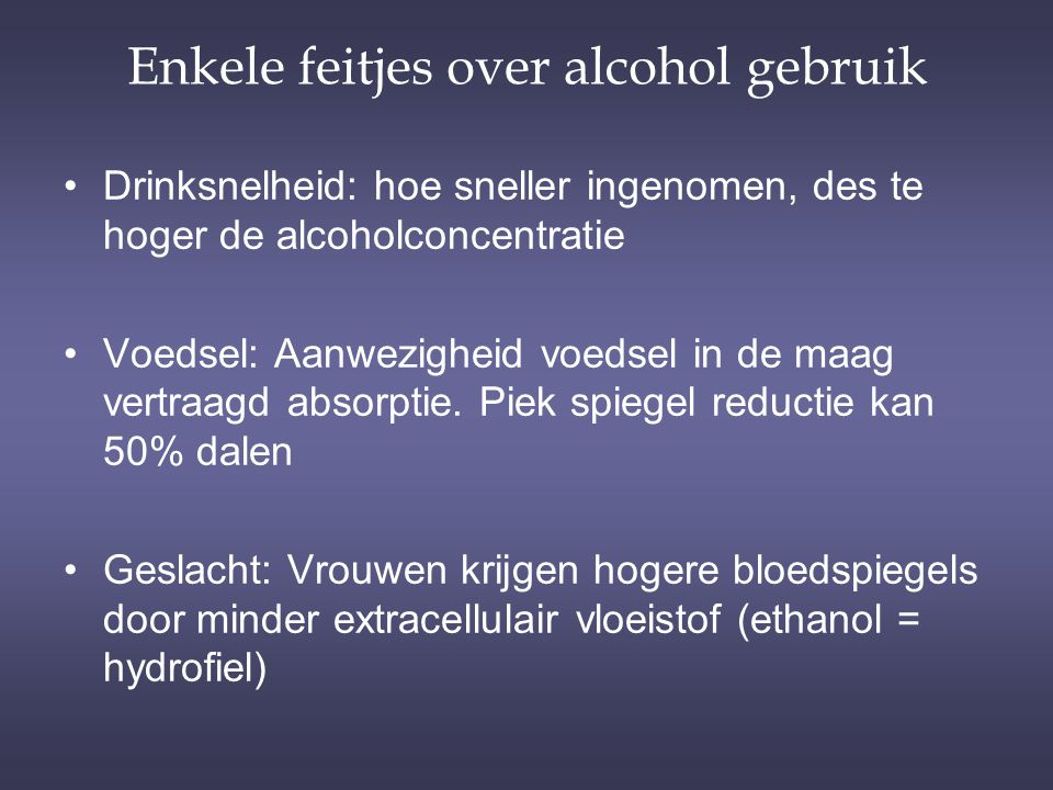 Enkele feitjes over alcohol gebruik