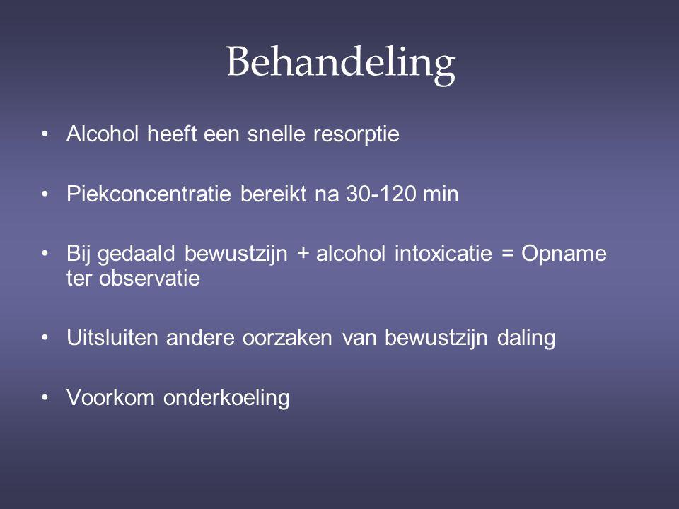 Behandeling Alcohol heeft een snelle resorptie
