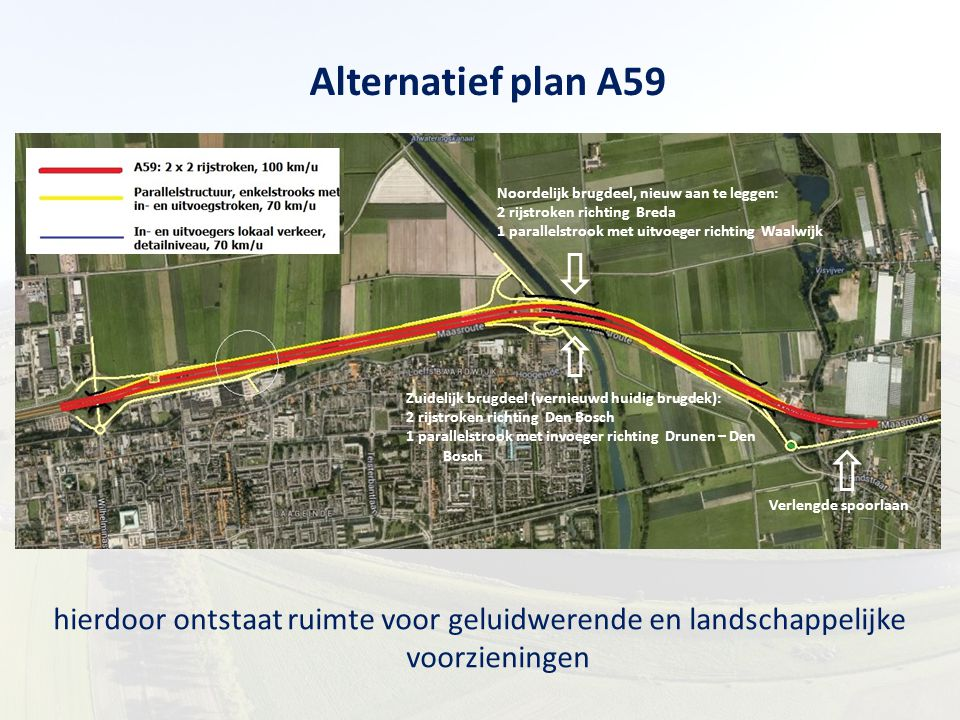 Alternatief plan A59 Zuidelijk brugdeel (vernieuwd huidig brugdek): 2 rijstroken richting Den Bosch.