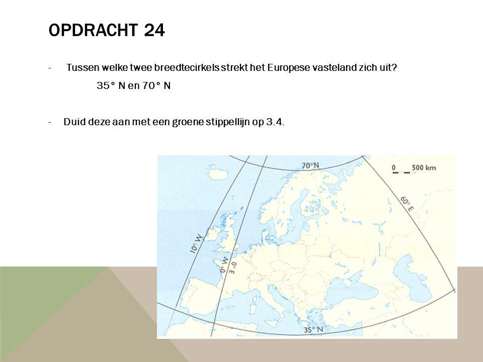Opdracht 24 Tussen welke twee breedtecirkels strekt het Europese vasteland zich uit 35° N en 70° N.