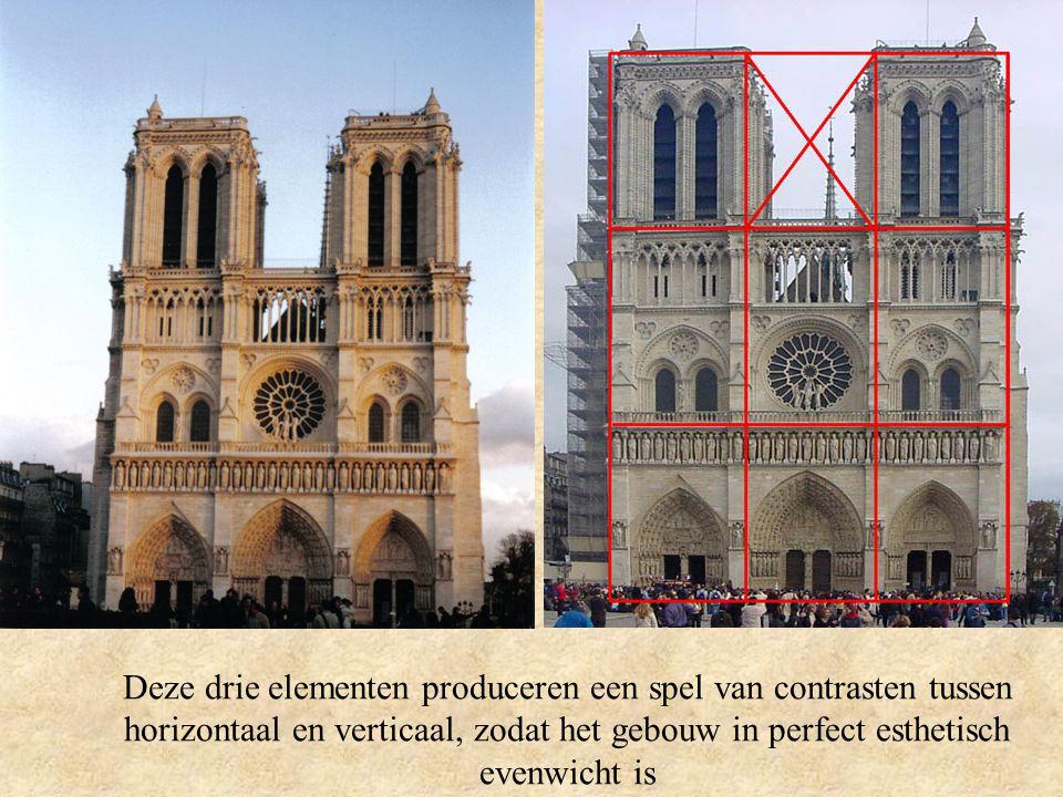 Deze drie elementen produceren een spel van contrasten tussen horizontaal en verticaal, zodat het gebouw in perfect esthetisch evenwicht is