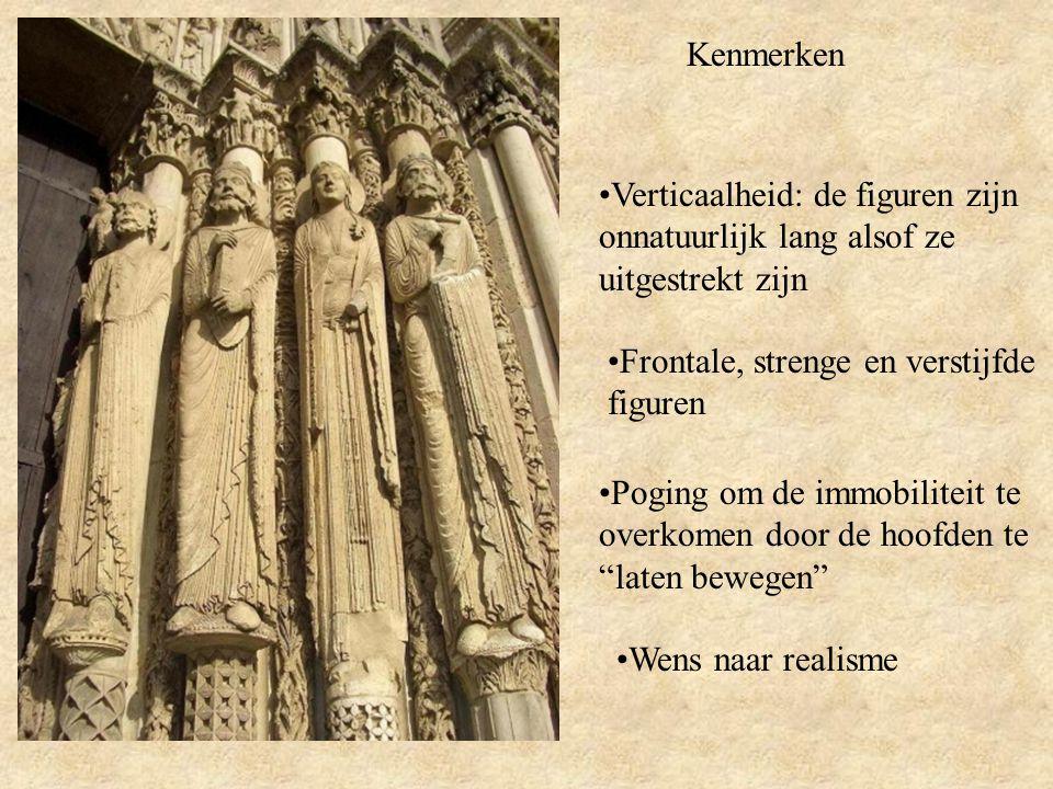Kenmerken Verticaalheid: de figuren zijn onnatuurlijk lang alsof ze uitgestrekt zijn. Frontale, strenge en verstijfde figuren.
