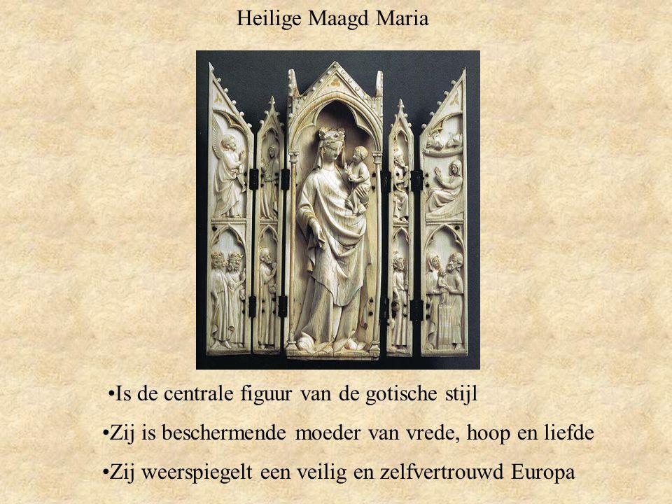 Heilige Maagd Maria Is de centrale figuur van de gotische stijl. Zij is beschermende moeder van vrede, hoop en liefde.