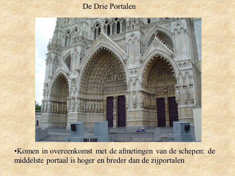 De Drie Portalen Komen in overeenkomst met de afmetingen van de schepen: de middelste portaal is hoger en breder dan de zijportalen.