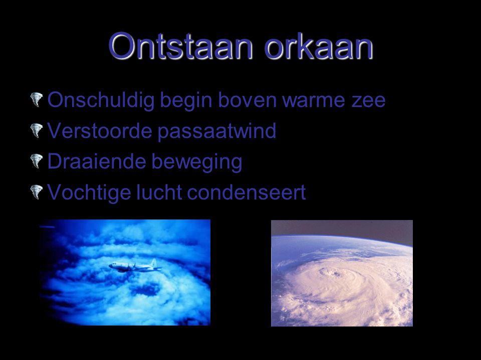 Ontstaan orkaan Onschuldig begin boven warme zee