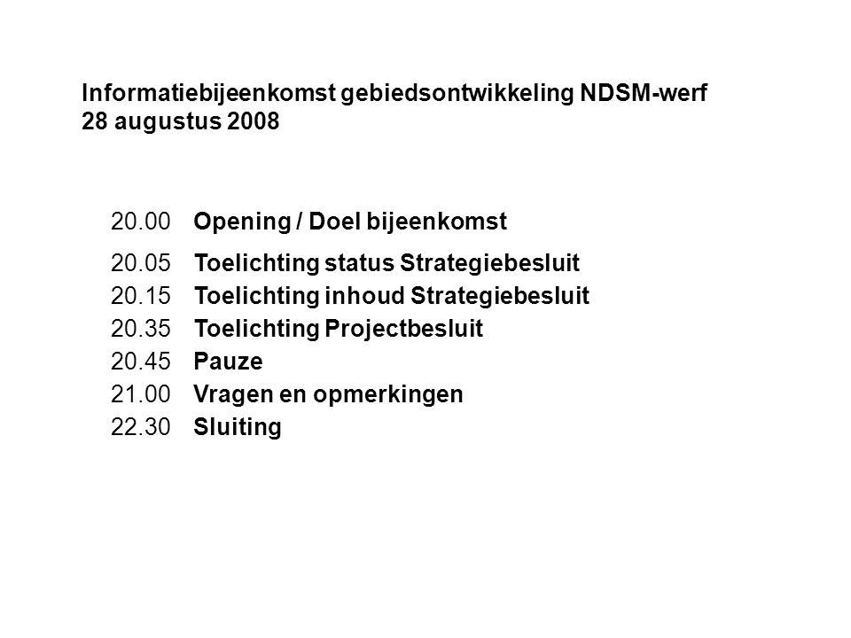 Informatiebijeenkomst gebiedsontwikkeling NDSM-werf