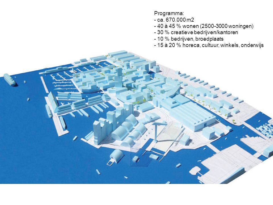 Programma: ca. 670.000 m2. 40 à 45 % wonen (2500-3000 woningen) 30 % creatieve bedrijven/kantoren.