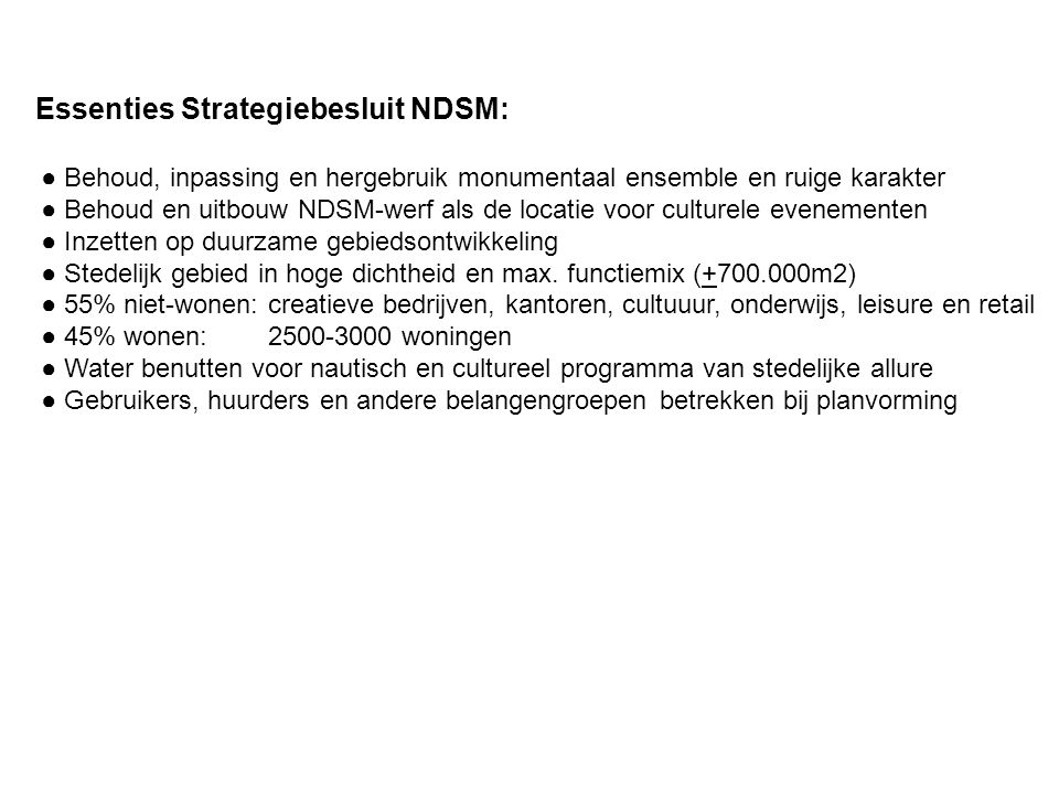 Essenties Strategiebesluit NDSM: