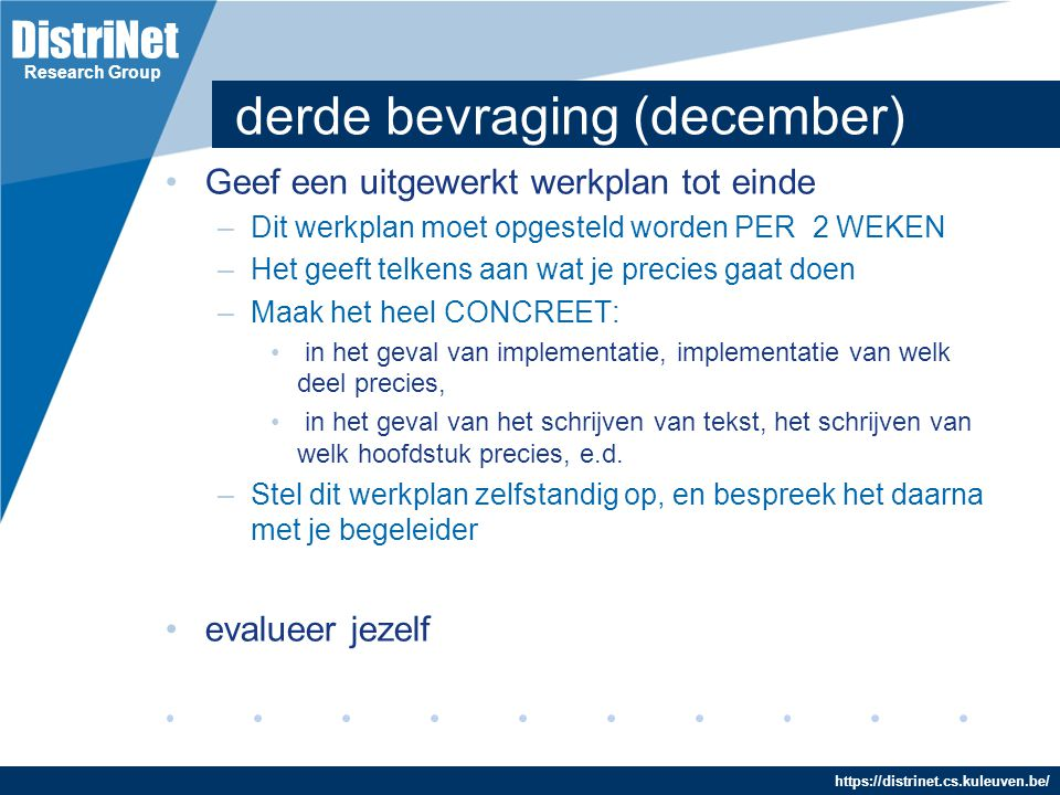 derde bevraging (december)