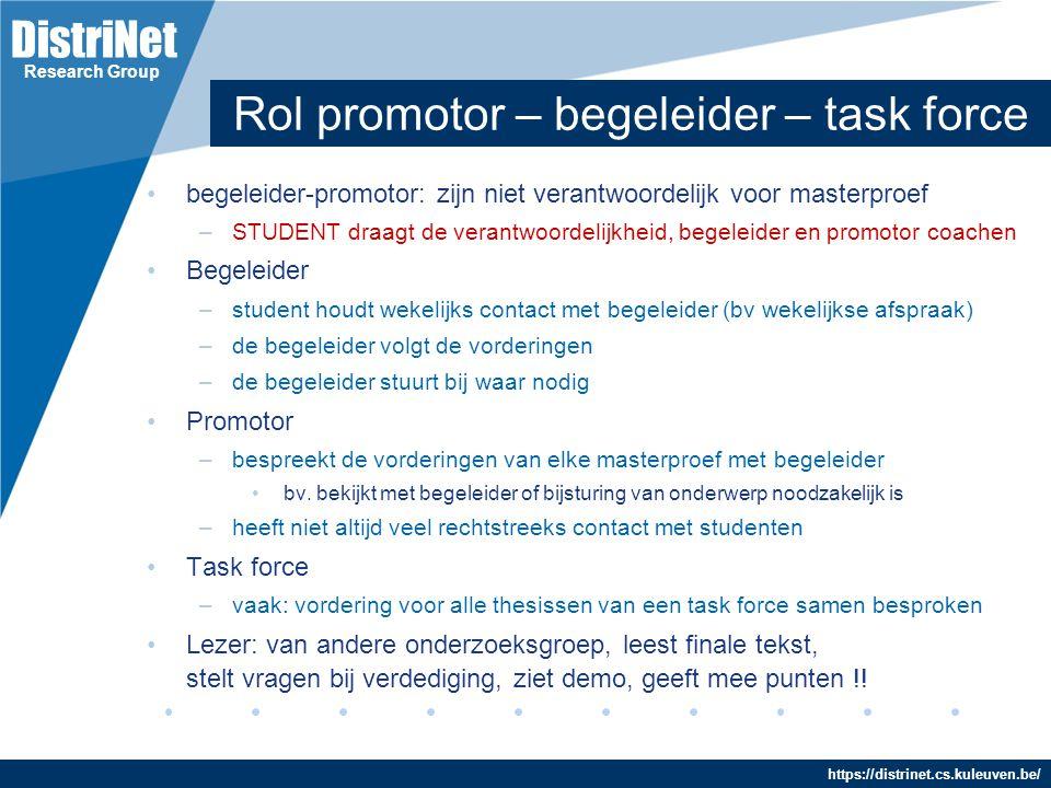 Rol promotor – begeleider – task force
