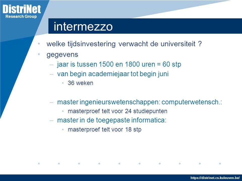 intermezzo welke tijdsinvestering verwacht de universiteit gegevens