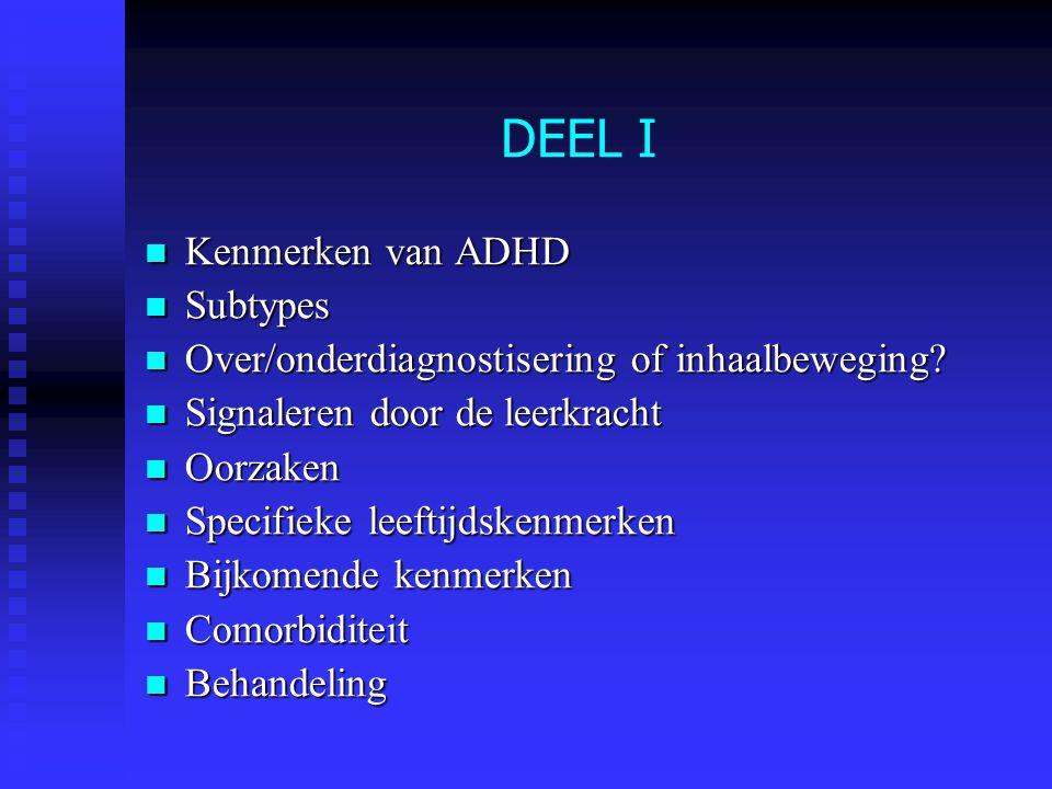DEEL I Kenmerken van ADHD Subtypes
