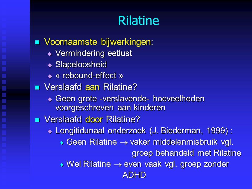 Rilatine Voornaamste bijwerkingen: Verslaafd aan Rilatine