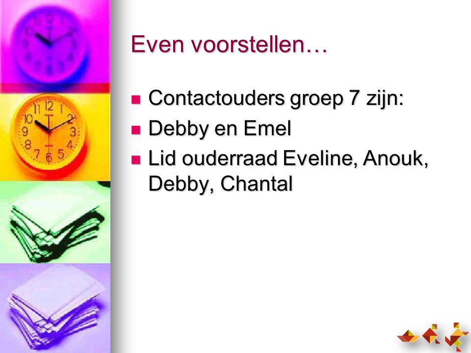 Even voorstellen… Contactouders groep 7 zijn: Debby en Emel