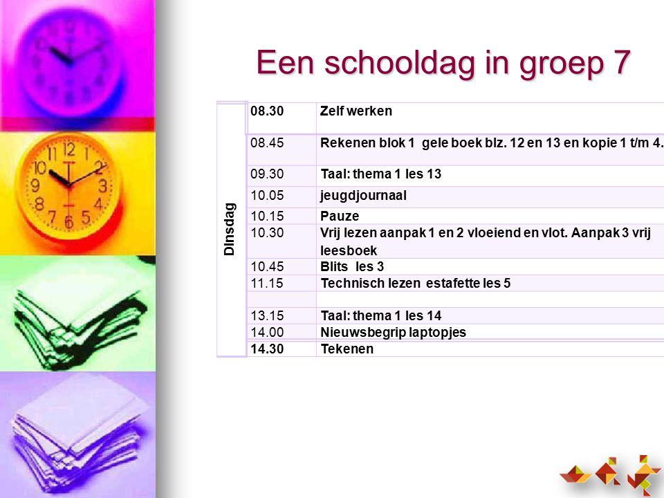 Een schooldag in groep 7 Dinsdag 08.30 Zelf werken 08.45