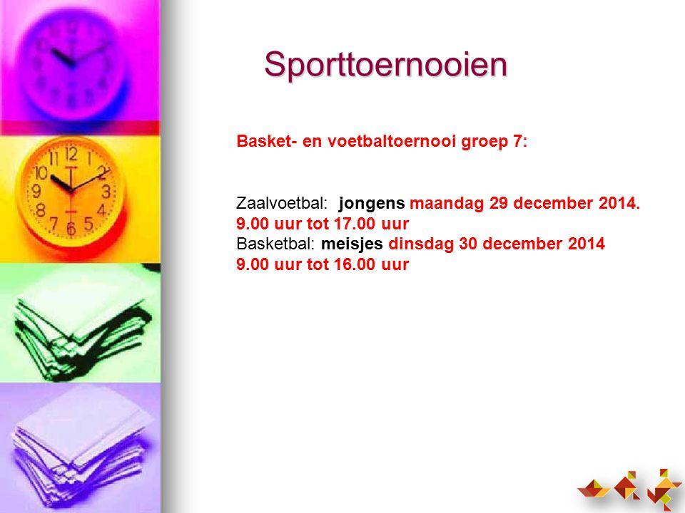 Sporttoernooien Basket- en voetbaltoernooi groep 7: