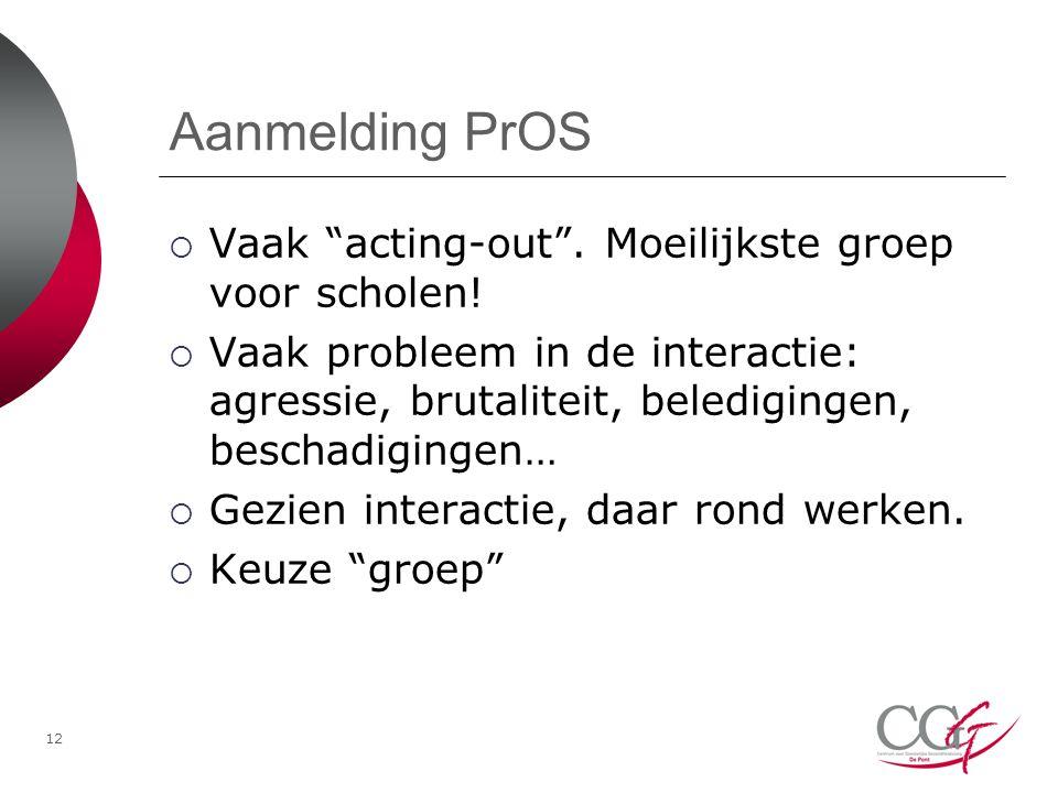 Aanmelding PrOS Vaak acting-out . Moeilijkste groep voor scholen!