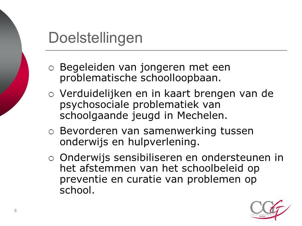 Doelstellingen Begeleiden van jongeren met een problematische schoolloopbaan.