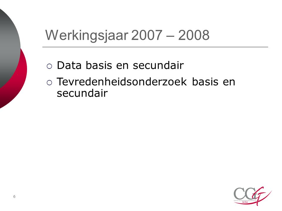 Werkingsjaar 2007 – 2008 Data basis en secundair