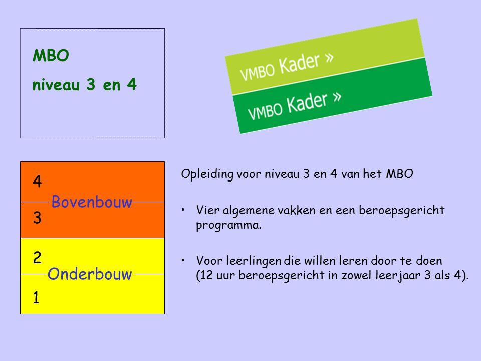 MBO niveau 3 en 4 4 Bovenbouw 3 2 Onderbouw 1